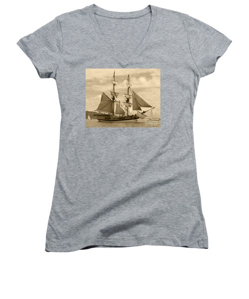 The Lady Washington Ship Women's V-Neck T-Shirt (Junior Cut) by Kym Backland