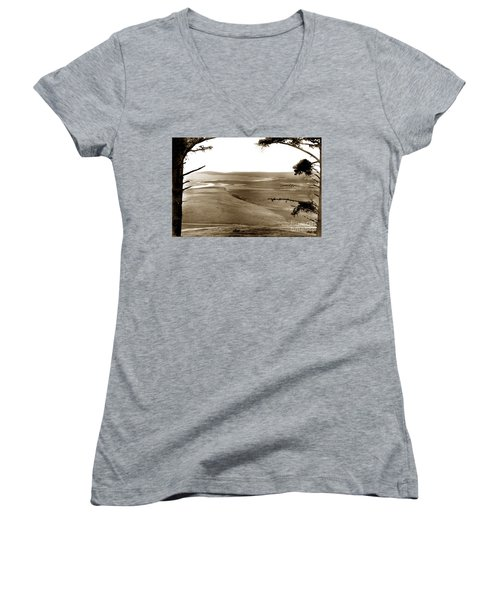 The Lagoon At The Mouth Of The Carmel River  From Fish Ranch California 1905 Women's V-Neck