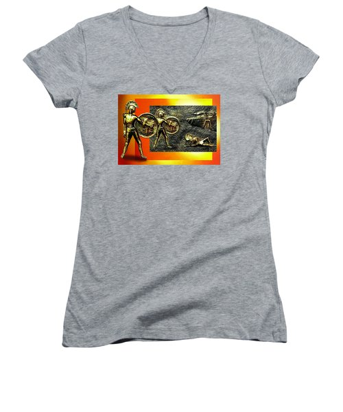 The Legends Of Troy. . .  Women's V-Neck T-Shirt (Junior Cut) by Hartmut Jager