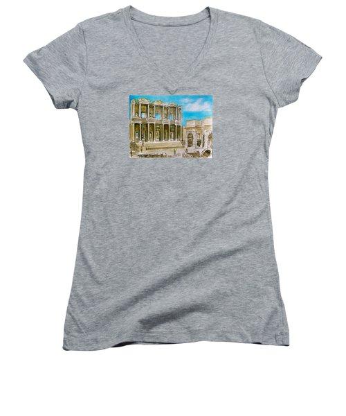 The Library At Ephesus Turkey Women's V-Neck T-Shirt (Junior Cut) by Frank Hunter