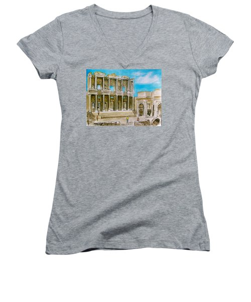 The Library At Ephesus Turkey Women's V-Neck
