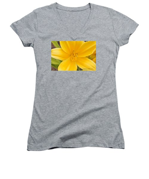Women's V-Neck T-Shirt (Junior Cut) featuring the photograph The Lily From Kentucky by Verana Stark