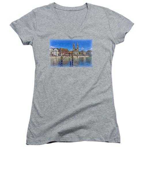 The Limmat City Women's V-Neck T-Shirt (Junior Cut) by Hanny Heim