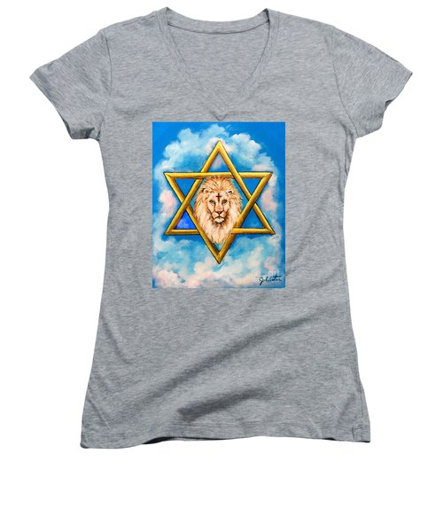 Women's V-Neck featuring the painting The Lion Of Judah #5 by Bob and Nadine Johnston