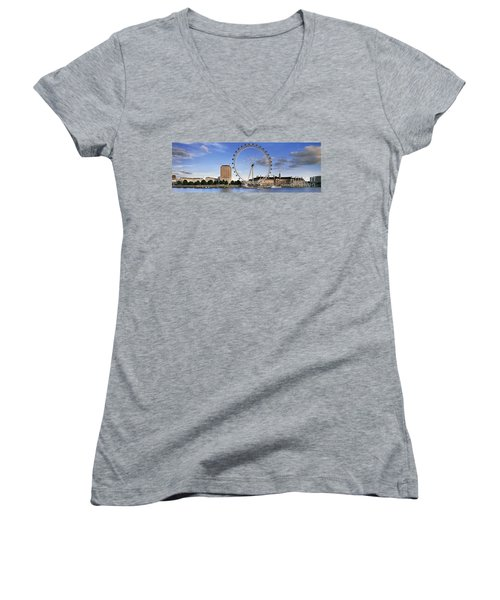 The London Eye Women's V-Neck T-Shirt (Junior Cut) by Rod McLean