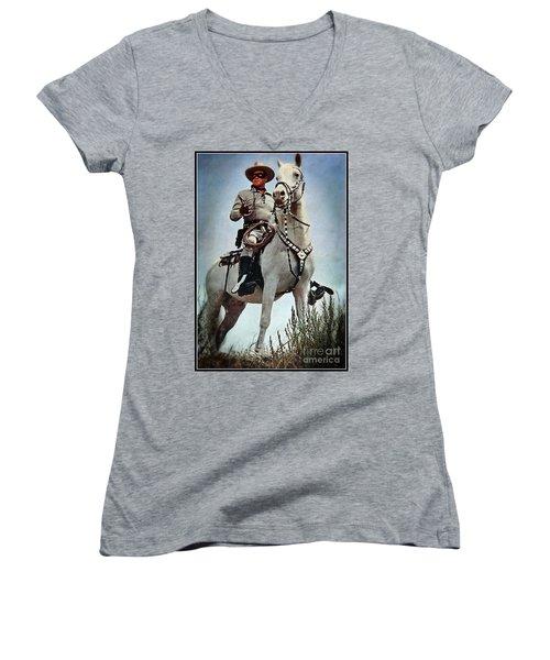 The Lone Ranger Women's V-Neck T-Shirt (Junior Cut) by Bob Hislop