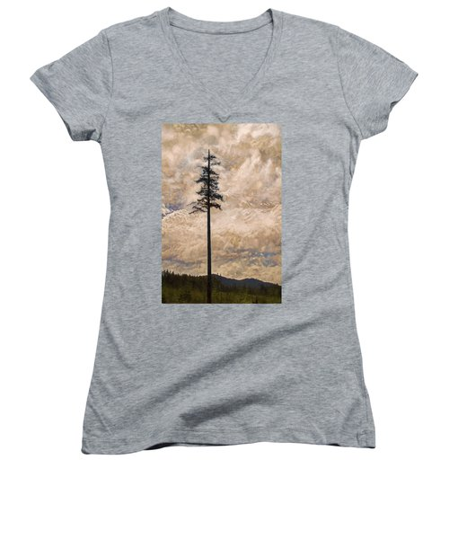 The Lone Survivor Stands In Tranquility Women's V-Neck T-Shirt (Junior Cut) by Peggy Collins