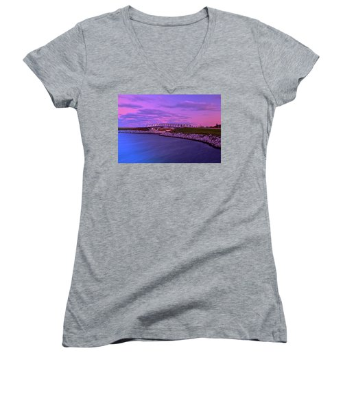 Women's V-Neck T-Shirt (Junior Cut) featuring the photograph The Lonely Bridge by Jonah  Anderson