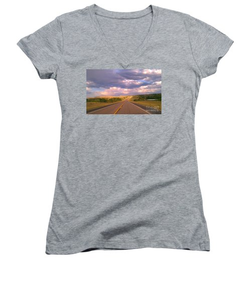 Women's V-Neck T-Shirt (Junior Cut) featuring the photograph The Long Road Home by Chris Tarpening