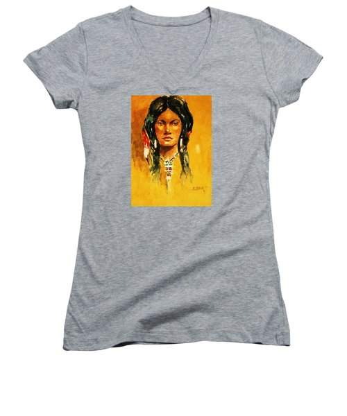 Women's V-Neck T-Shirt (Junior Cut) featuring the painting The Maiden Ll by Al Brown