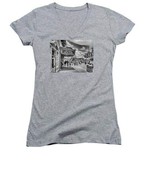 Women's V-Neck featuring the photograph The Main Street Cinema by Howard Salmon