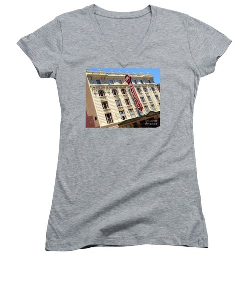 Women's V-Neck T-Shirt (Junior Cut) featuring the photograph The Majestic Theater Dallas #1 by Robert ONeil