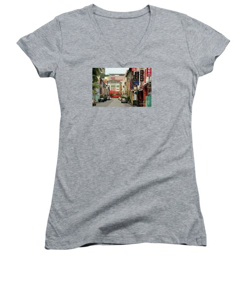 Women's V-Neck T-Shirt (Junior Cut) featuring the photograph The Majestic Theater Chinatown Singapore by Imran Ahmed