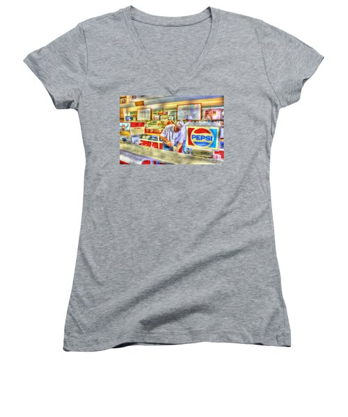 The Malt Shoppe Women's V-Neck T-Shirt (Junior Cut) by Dan Stone
