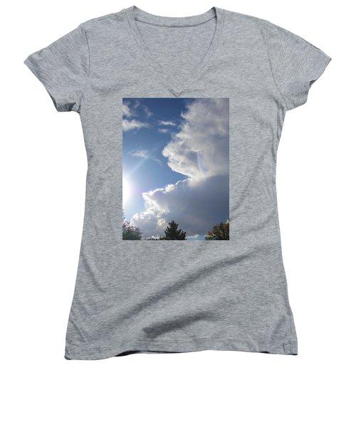 Rainbow Tears Women's V-Neck T-Shirt (Junior Cut) by Deborah Moen