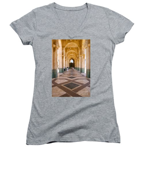 Women's V-Neck T-Shirt (Junior Cut) featuring the photograph The Massive Colonnades At The Hassan II Mosque Sour Jdid Casablanca Morocco by Ralph A  Ledergerber-Photography