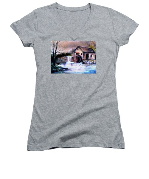 Women's V-Neck T-Shirt (Junior Cut) featuring the painting The Millstream by Hazel Holland