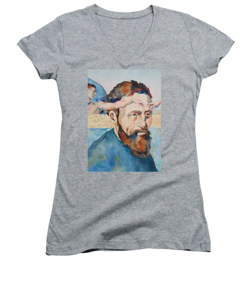 The Mind Of Michelangelo Women's V-Neck T-Shirt (Junior Cut)