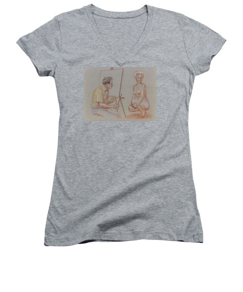 The Model Women's V-Neck T-Shirt (Junior Cut) by Duane R Probus