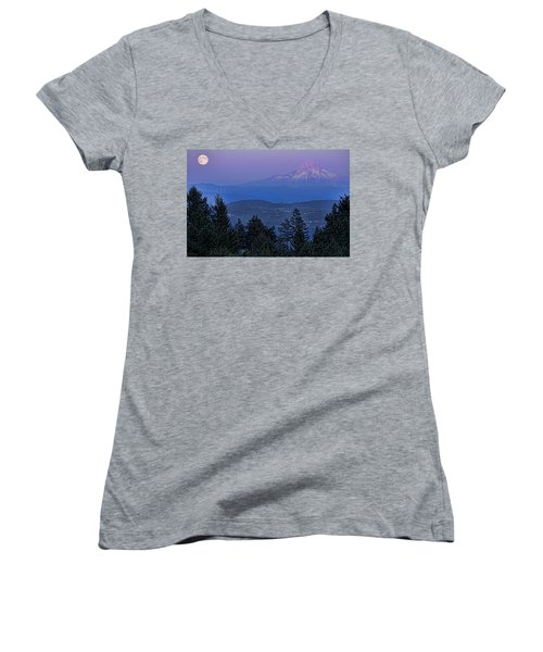 The Moon Beside Mt. Hood Women's V-Neck