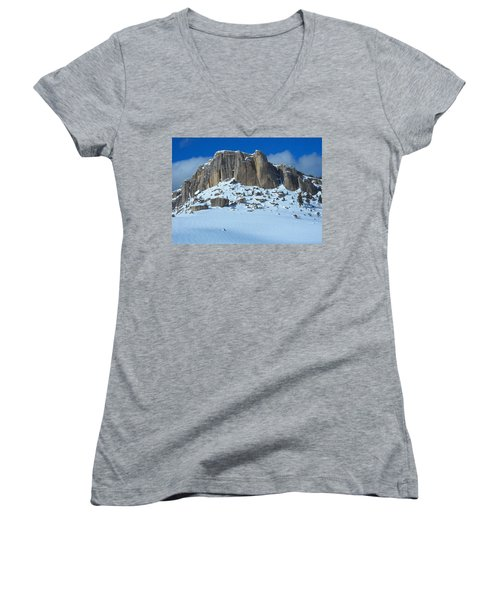Women's V-Neck T-Shirt (Junior Cut) featuring the photograph The Mountain Citadel by Michele Myers