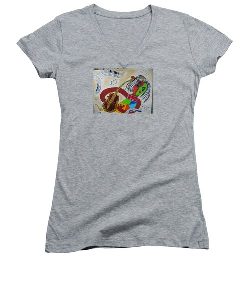 The Music Practitioner Women's V-Neck T-Shirt (Junior Cut) by Sharyn Winters