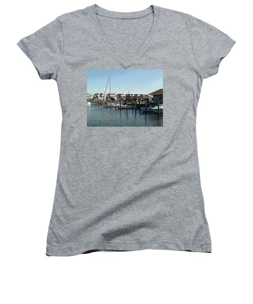 Women's V-Neck T-Shirt (Junior Cut) featuring the photograph The Narrows by Charles Kraus