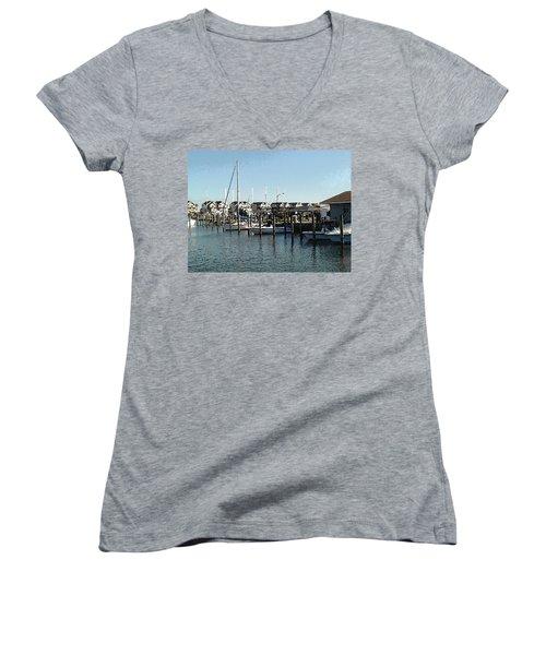 At Kent Narrows Women's V-Neck T-Shirt (Junior Cut) by Charles Kraus