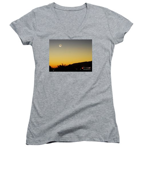 Women's V-Neck T-Shirt (Junior Cut) featuring the photograph The Night Moves On by Angela J Wright