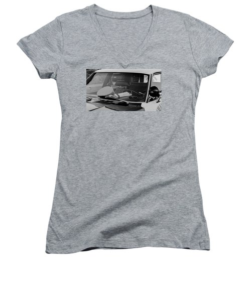 Women's V-Neck featuring the photograph The Office On Wheels by Jim Thompson
