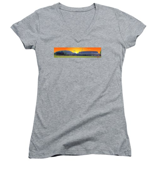 The Old And New Yankee Stadiums Side By Side At Sunset Women's V-Neck T-Shirt (Junior Cut)