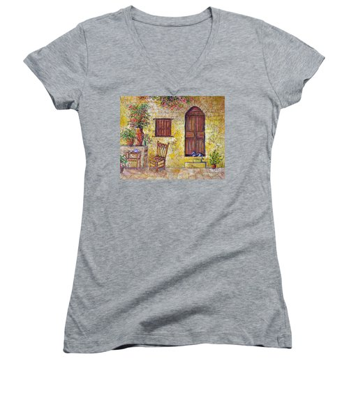 Women's V-Neck T-Shirt (Junior Cut) featuring the painting The Old Chair by Lou Ann Bagnall