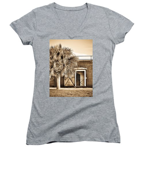 The Old Fort-sepia Women's V-Neck T-Shirt