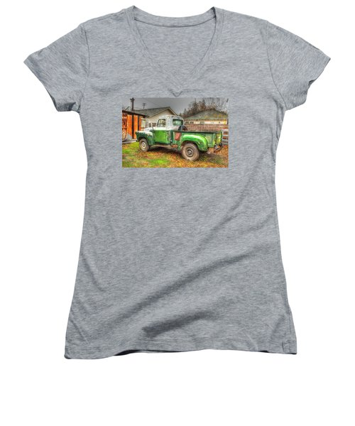 Women's V-Neck T-Shirt (Junior Cut) featuring the photograph The Old Green Truck by Jim Thompson