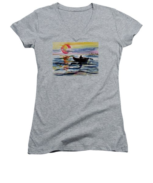 The Old Man And The Sea Women's V-Neck T-Shirt (Junior Cut) by Xueling Zou