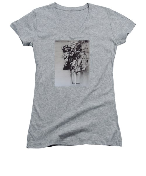 The Old Man Of The Mountain Women's V-Neck T-Shirt (Junior Cut) by Sean Connolly