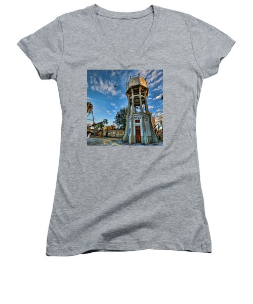 The Old Water Tower Of Tel Aviv Women's V-Neck T-Shirt (Junior Cut) by Ron Shoshani