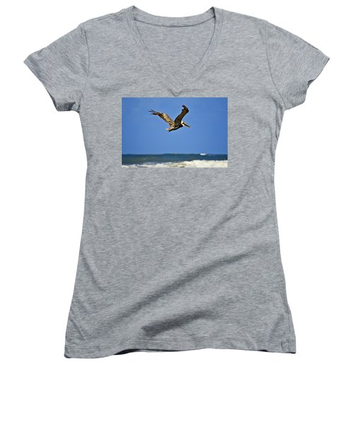 Women's V-Neck T-Shirt (Junior Cut) featuring the photograph The Pelican And The Sea by DigiArt Diaries by Vicky B Fuller