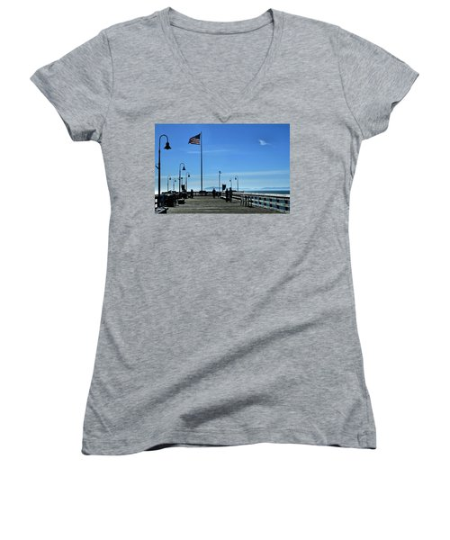 Women's V-Neck T-Shirt (Junior Cut) featuring the photograph The Pier by Michael Gordon