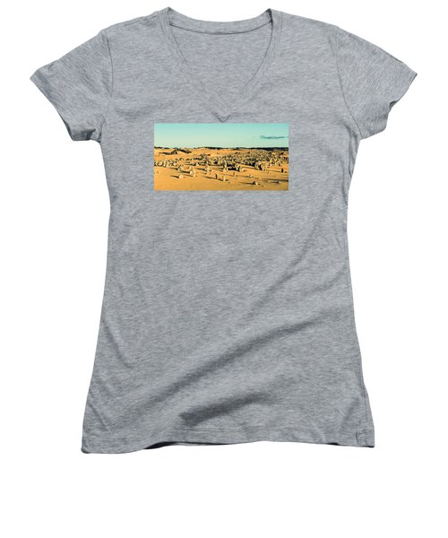Women's V-Neck T-Shirt (Junior Cut) featuring the photograph The Pinnacles Australia by Yew Kwang