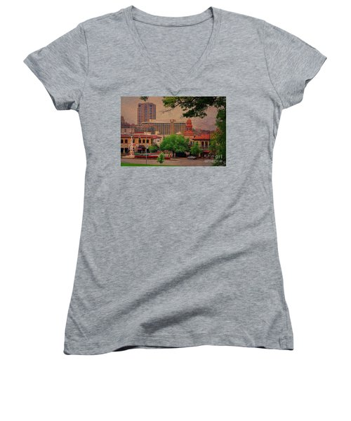 The Plaza - Kansas City Missouri Women's V-Neck T-Shirt (Junior Cut) by Liane Wright