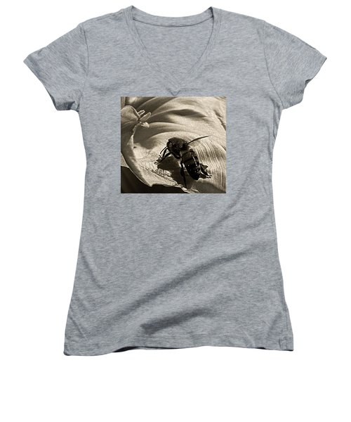 The Pollinator Women's V-Neck T-Shirt (Junior Cut) by Chris Berry