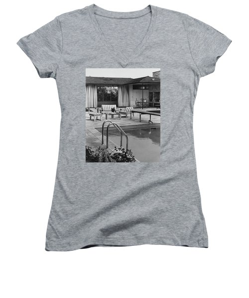 The Pool And Pavilion Of A House Women's V-Neck