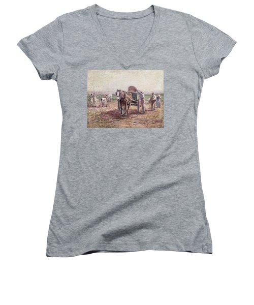 The Potato Pickers Women's V-Neck T-Shirt (Junior Cut) by Harry Fidler