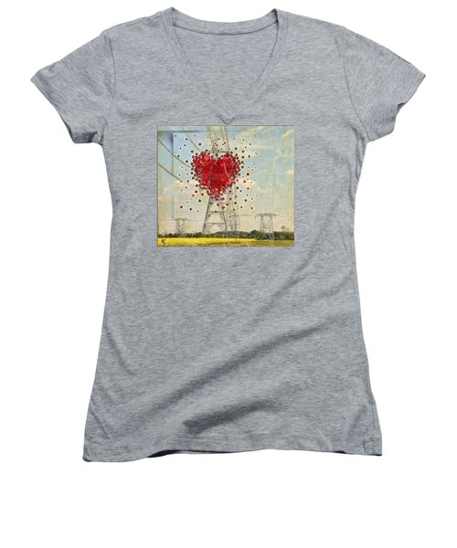 The Power Of Love Women's V-Neck (Athletic Fit)