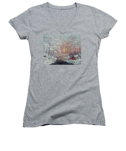 Women's V-Neck T-Shirt (Junior Cut) featuring the painting The Quest Begins by Anthony Lyon