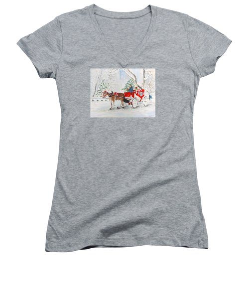 Women's V-Neck T-Shirt (Junior Cut) featuring the painting The Quiet Ride by Beth Saffer