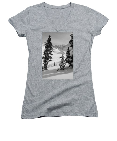 The Quiet Season Women's V-Neck T-Shirt (Junior Cut) by Eric Glaser
