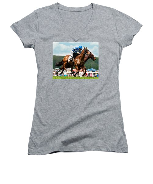 The Race Is On Women's V-Neck T-Shirt