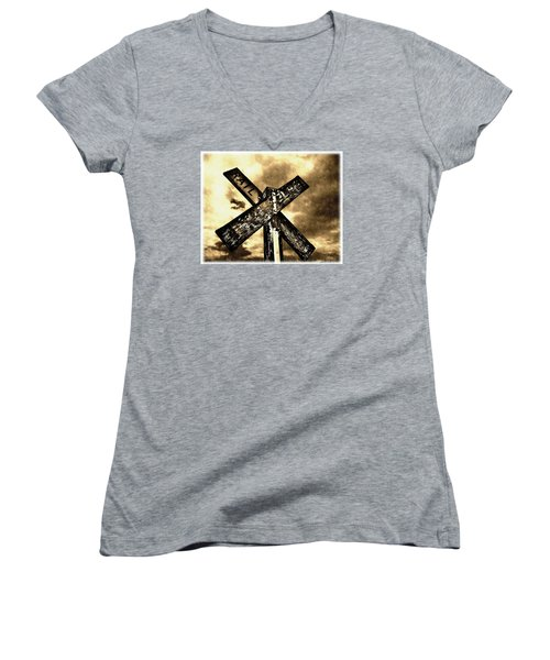 Women's V-Neck T-Shirt (Junior Cut) featuring the photograph The Railroad Crossing by Glenn McCarthy Art and Photography